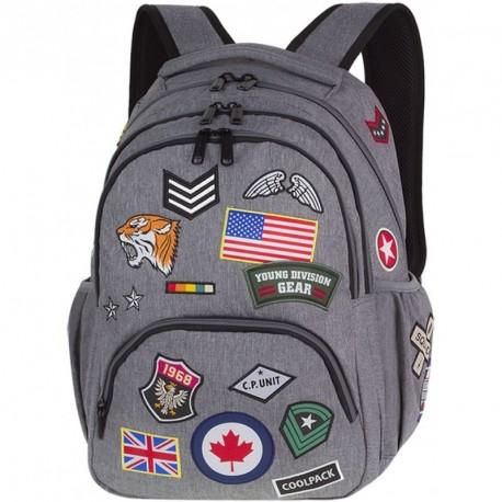 Plecak młodzieżowy CoolPack CP BENTLEY BADGES GREY