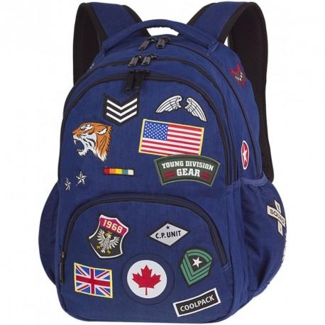 Plecak młodzieżowy CoolPack CP BENTLEY BADGES NAVY