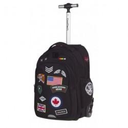 Plecak na kółkach CoolPack CP czarny z naszywkami JUNIOR BADGES BLACK A424