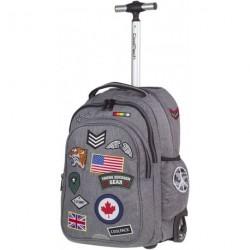 Plecak na kółkach CoolPack CP szary z naszywkami JUNIOR BADGES GREY A403