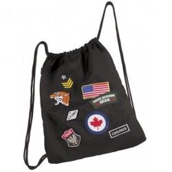 Worek na sznurkach / na buty CoolPack Sprint Badges Black z naszywkami - czarny