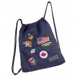Worek na sznurkach / na buty CoolPack Sprint Badges Navy z naszywkami - granatowy