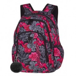 STRIKE Plecak do szkoły CoolPack CP - RED & BLACK FLOWERS 26L - A241 + POMPON gratis!