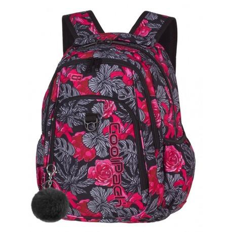 STRIKE Plecak do szkoły CoolPack CP - dla dziewczyny soczyste czerwone róże RED & BLACK FLOWERS 26L - A241 + POMPON gratis!