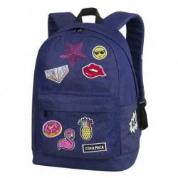 Plecak miejski CoolPack CP CROSS BADGES GIRLS DENIM granatowy z naszywkami