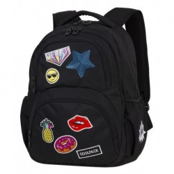 054bfd347e875 Plecak młodzieżowy CoolPack CP DART II BADGES GIRLS BLACK czarny z  naszywkami