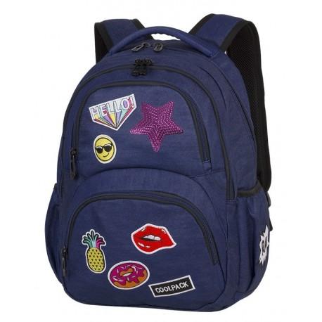 Plecak młodzieżowy CoolPack CP DART II Badges Girls Denim granatowy z naszywkami
