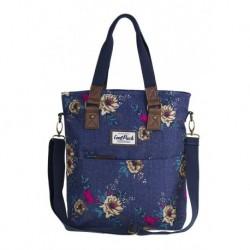 Torba damska na ramię CoolPack CP AMBER BLUE DENIM FLOWERS jeans w kwiaty - A095