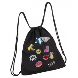 Worek na sznurkach / na buty CoolPack CP SPRINT BADGES GIRLS BLACK czarny z naszywkami