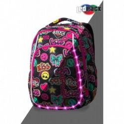 Świecący plecak dla ucznia pierwszej klasy CoolPack CP STRIKE S EMOTICONS kiss & love LEDPACK