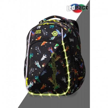 Plecak dla ucznia pierwszej klasy świecący CoolPack CP STRIKE S ROCKETS rakiety LEDPACK