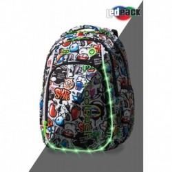 Świecący plecak dla pierwszoklasisty CoolPack CP STRIKE S GRAFFITI LEDPACK