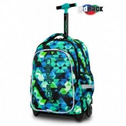 ŚWIECĄCY plecak na kółkach CoolPack CP JUNIOR KALEIDOSCOPE zielony w trójkąty