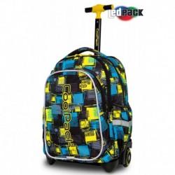 Plecak na kółkach do szkoły świecący CoolPack CP JUNIOR SQUARES w kratę LEDPACK