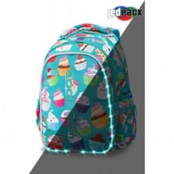 ŚWIECĄCY plecak szkolny CoolPack CP JOY M CUPCAKES babeczki LEDPACK