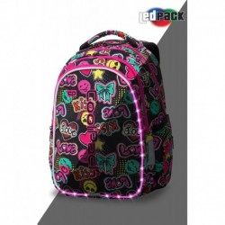 ŚWIECĄCY plecak szkolny CoolPack CP JOY M EMOTICONS KISS & LOVE LEDPACK