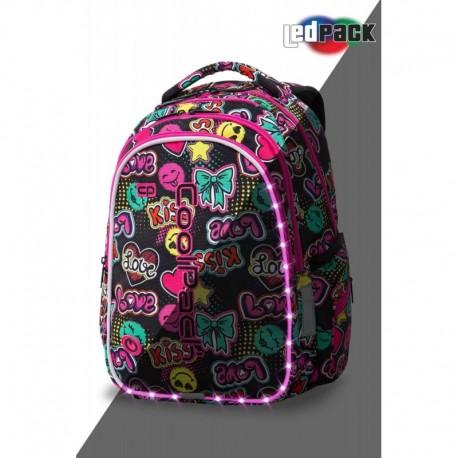 ŚWIECĄCY plecak szkolny CoolPack CP JOY M EMOTICONS KISS & LOVE LEDPACK - Cool-pack.pl