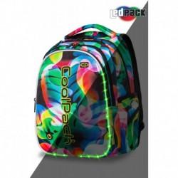 ŚWIECĄCY plecak młodzieżowy CoolPack CP JOY L RAINBOW LEAVES tęczowe liście LED