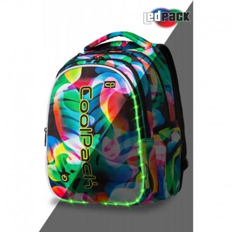 ŚWIECĄCY plecak młodzieżowy CoolPack CP JOY L RAINBOW LEAVES tęczowe liście LED - Cool-pack.pl