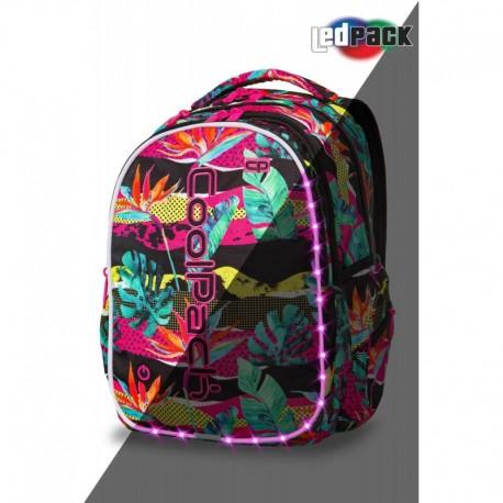 ŚWIECĄCY plecak młodzieżowy CoolPack CP JOY L PARADISE tropikalne liście LED - Cool-pack.pl