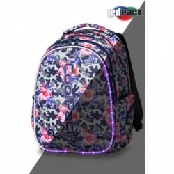 Świecący plecak szkolny CoolPack CP JOY L CAMO ROSES róże na szarym moro LEDPACK