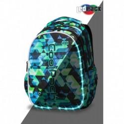 Plecak świecący szkolny CoolPack CP JOY L KALEIDOSCOPE zielony w trójkąty LEDPACK