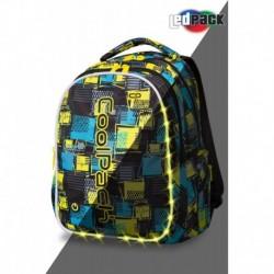 Świecący plecak szkolny CoolPack CP JOY L SQUARES w kratę LEDPACK