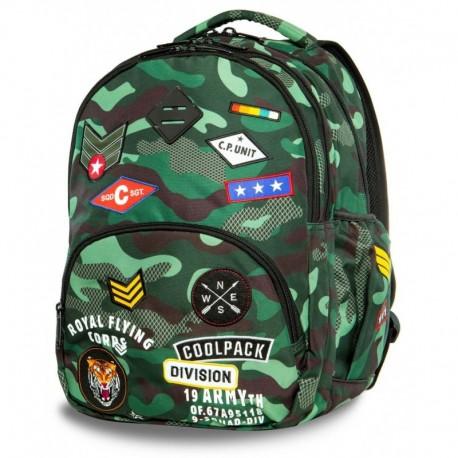 Plecak szkolny CoolPack CP BENTLEY CAMO GREEN BADGES zielone moro z naszywkami