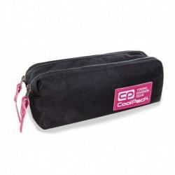 Piórnik / saszetka dwukomorowa CoolPack EDGE PINK GLITTER czarny z różowym brokatem