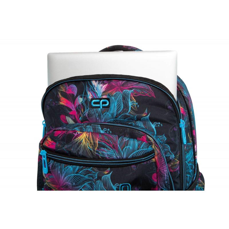 adf08ead83991 ... Plecak szkolny na kółkach CoolPack CP SWIFT VIBRANT BLOOM kolorowe  kwiaty kieszeń na laptopa ...