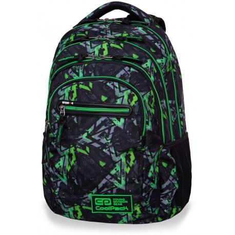 Plecak szkolny CoolPack CP COLLEGE TECH ELECTRIC GREEN zielone błyskawice - 5 przegród - kieszeń RFID - Cool-pack.pl