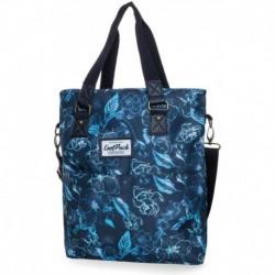 Torba damska shopperka CoolPack CP AMBER UNDERWATER DREAM błękitne kwiaty na granatowym tle
