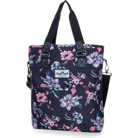 Torba na ramię shopperka CoolPack Amber Dark Romance czarna retro kwiaty
