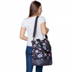 Damska torba na zakupy / shopperka CoolPack SOHO DARK ROMANCE czarna w kwiaty retro