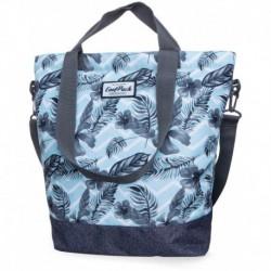 Torba damska shopperka CoolPack CP SOHO SURF PALMS błękitna w liście