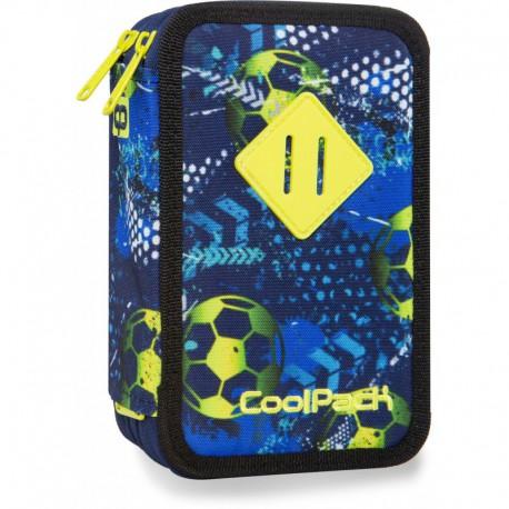 Piórnik potrójny z wyposażeniem COOLPACK CP JUMPER 3 FOOTBALL BLUE z piłką nożną