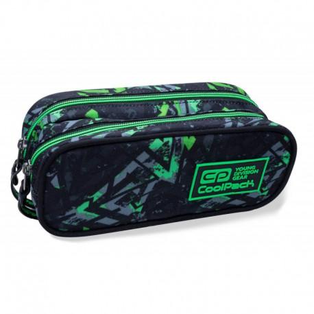 Piórnik / saszetka dwukomorowa CoolPack CLEVER ELECTRIC GREEN zielone błyskawice - Cool-pack.pl