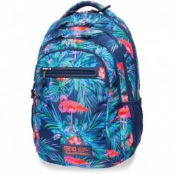 Plecak szkolny CoolPack CP COLLEGE PINK FLAMINGO granatowy w liście i flamingi - 5 przegród - kieszeń RFID