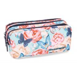 Saszetka trzykomorowa CoolPack CP PRIMUS BUTTERFLIES motyle i róże BRAK FOTO!!!