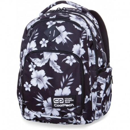 Plecak szkolny COOLPACK CP BREAK WHITE HIBISCUS biały hibiskus kwiaty - port USB