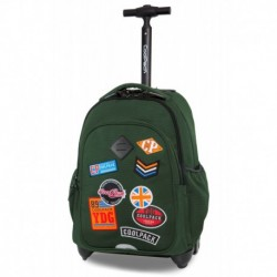 Plecak na kółkach CoolPack CP JUNIOR BADGES GREEN zielony z naszywkami
