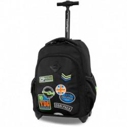 Plecak na kółkach CoolPack CP JUNIOR BADGES BLACK czarny z naszywkami