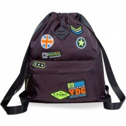 Plecak worek na plecy CoolPack CP URBAN BADGES BLACK czarny z naszywkami