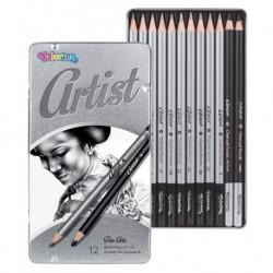Zestaw do rysowania Artist 12 szt. (ołówki grafitowe+węgiel) Colorino