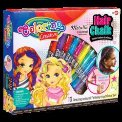 Zestaw pasteli kredowych do włosów 10 KOL. COLORINO HAIR CHALK + KORALIKI