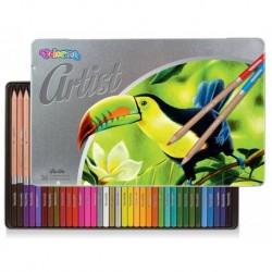 Kredki colorino Artist 36 - Zestaw kredek ołówkowych w metalowym pudełku