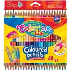 Kredki ołówkowe trójkątne dwukolorowe Colorino 48 kolorów - 24szt