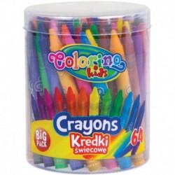 Kredki świecowe Colorino 64 kolory w tubie