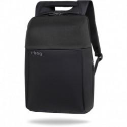 """Plecak antykradzieżowy męski na laptopa 15,6"""" r-bag Fort Black czarny z USB na walizkę"""