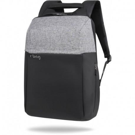 """Plecak antykradzieżowy męski na laptopa 15,6"""" r-bag Fort Gray szary z USB - Cool-pack.pl"""